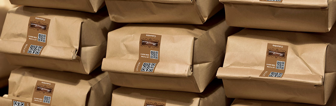Tamper evident labels on coffee bags