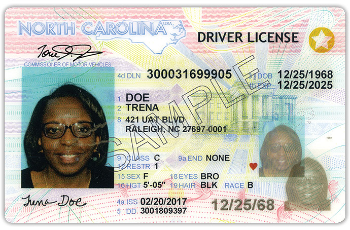 North Carolina REAL ID card